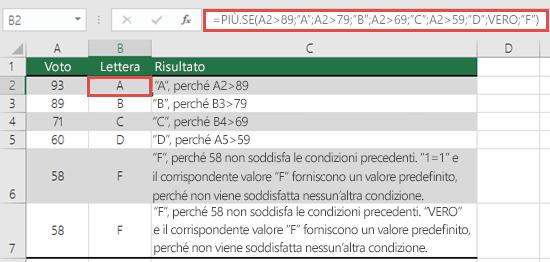 """Funzione PIÙ.SE - Esempio dei voti.  La formula nella cella B2 è =PIÙ.SE(A2>89;""""A"""";A2>79;""""B"""";A2>69;""""C"""";A2>59;""""D"""";VERO;""""F"""")"""
