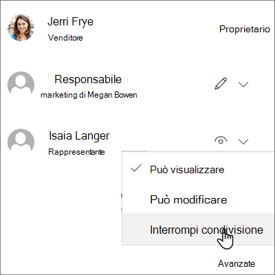 Screenshot che illustra come interrompere la condivisione con una persona in OneDrive for Business