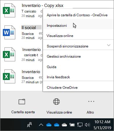 Menu Centro attività visualizzato quando si fa clic sull'icona didattica di OneDrive