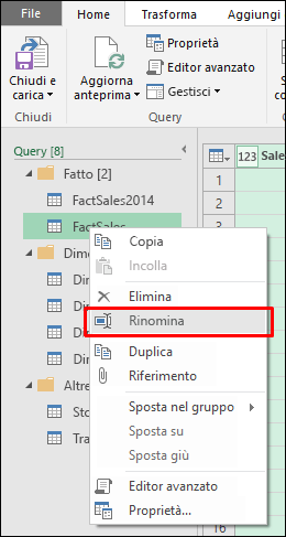 Power Query - Ridenominazione delle query direttamente dal riquadro Query dell'editor di query