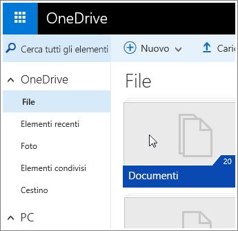 Screenshot della cartella Documenti in OneDrive.