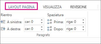 immagine delle opzioni per rientro e spaziatura nella scheda layout di pagina