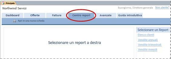 Scheda Centro rapporti e report del modello di database Servizi