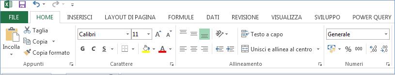Tutte le schede e i comandi sono visualizzati sulla barra multifunzione.