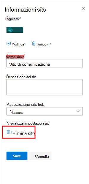 Riquadro informazioni sito immagine con l'opzione Elimina evidenziata