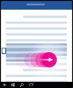 Immagine che mostra come effettuare un doppio tocco e trascinare per selezionare più parole o frasi.