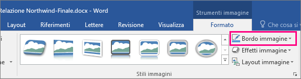Opzione Bordo immagine evidenziata nella scheda Formato di Strumenti immagine.