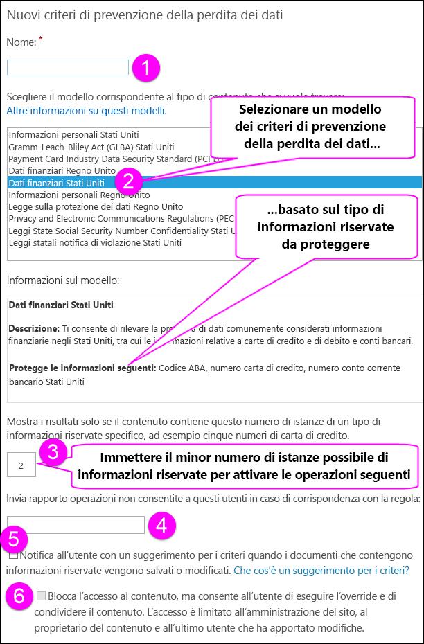 Nuove opzioni per i criteri di prevenzione della perdita dei dati