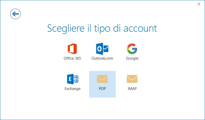 Finestra di dialogo Configurazione dell'account, pagina per la selezione del tipo di account