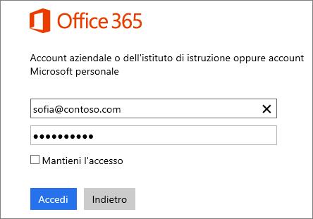 Screenshot della pagina di accesso a Office 365