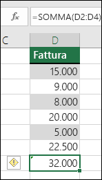 Excel visualizza un errore quando una formula ignora le celle di un intervallo