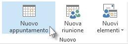 Comando Nuovo appuntamento sulla barra multifunzione