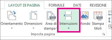 Fare clic su Interruzioni nella scheda Layout di pagina