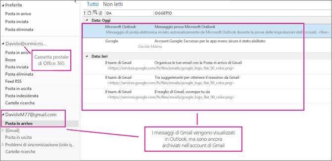 Dopo l'aggiunta dell'account di Gmail, in Outlook saranno visualizzati due account