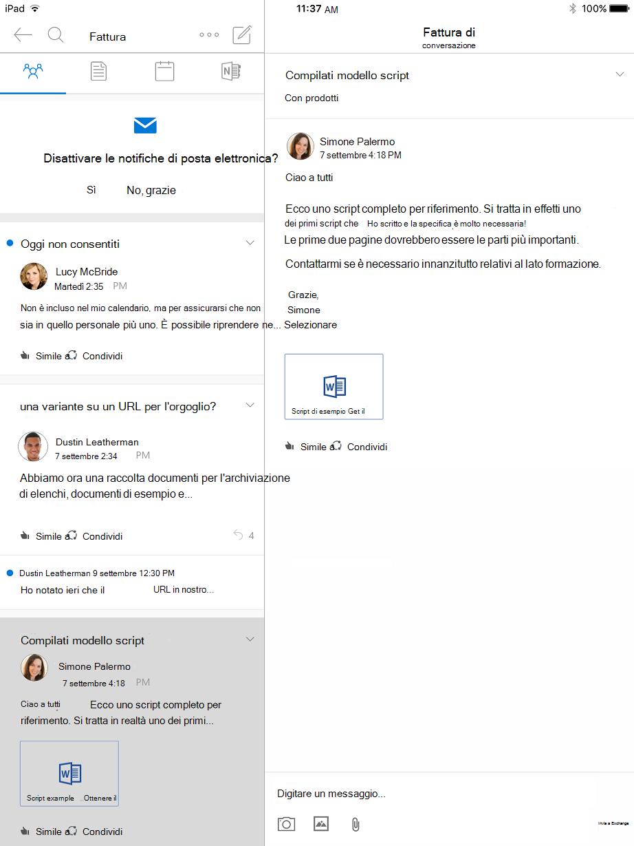 Visualizzazione conversazione nei gruppi di Outlook per iPad