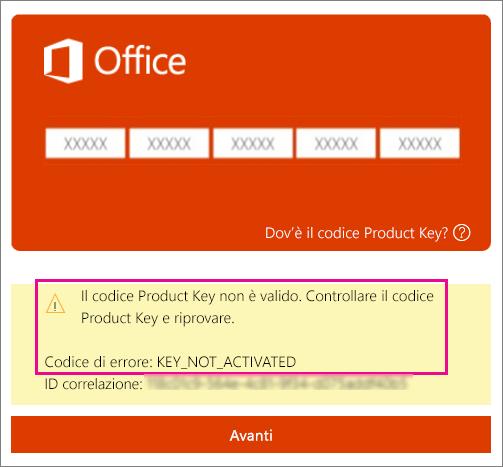 Codice di errore KEY_NOT_ACTIVATED
