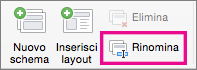 Comando Rinomina per lo schema diapositiva in PowerPoint per Mac
