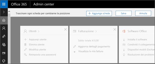 Mostra la home page dell'interfaccia di amministrazione disattivata.