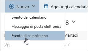 Screenshot del menu Nuovo con il cursore sull'opzione eventi di compleanno