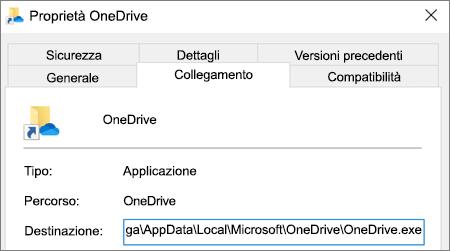 Screenshot che mostra il menu delle proprietà dell'applicazione OneDrive.