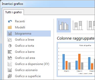 Finestra di dialogo Inserisci grafico con le opzioni del grafico e l'anteprima