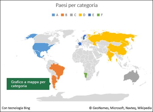 Grafico a mappa di Excel per categoria