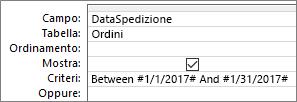 Espressione nella riga Criteri della griglia query