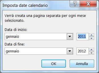 Finestra di dialogo per l'impostazione delle date di calendario.