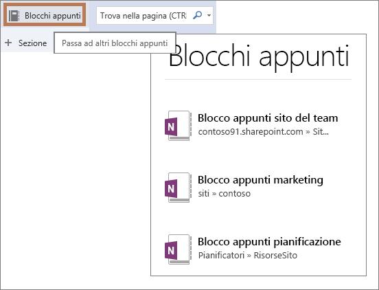 Visualizzazione di un elenco di blocchi appunti