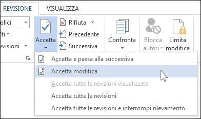 Accetta revisione nel menu Accetta