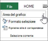 Area di selezione corrente con la selezione dell'elemento evidenziata
