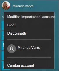 Immagine del menu visualizzato quando si seleziona l'immagine dell'account