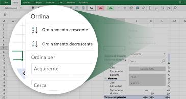 Foglio di lavoro di Excel con una tabella pivot e zoom su un set di funzionalità disponibili