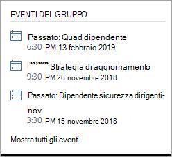 Sezione eventi del gruppo Yammer che mostra un evento dinamico