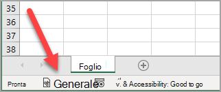 """È stata applicata la barra di stato di Excel con un'etichetta di riservatezza """"Generale"""""""