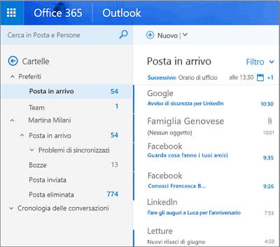 Visualizzazione principale di Outlook sul Web