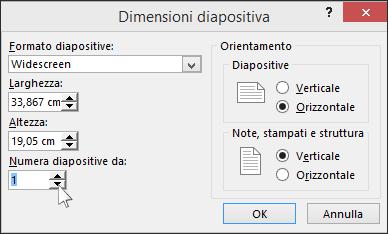mostra la finestra di dialogo Dimensioni diapositiva in PowerPoint