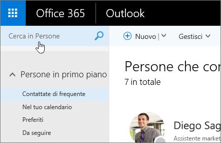 Screenshot della schermata Persone con la casella Cerca in Persone selezionata.