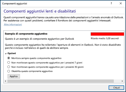 Disabilitare i componenti aggiuntivi per Outlook