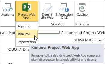 Sulla barra multifunzione fare clic su Project Web App e quindi su Rimuovi.