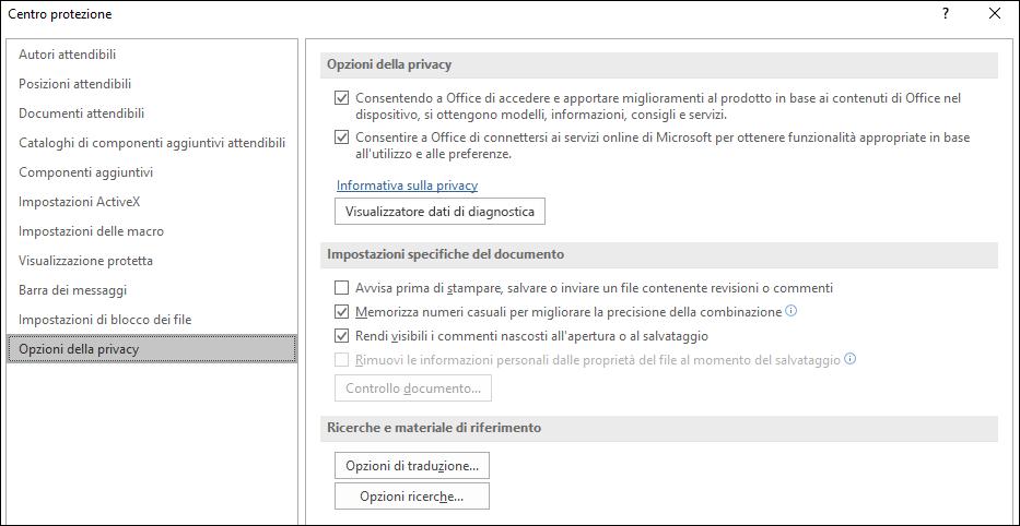 Opzioni di privacy di Office Trust Center