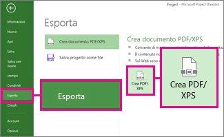 Immagine del pulsante Crea PDF/XPS