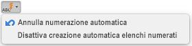 Pulsante Correzione automatica con le opzioni di numerazione automatica visualizzate