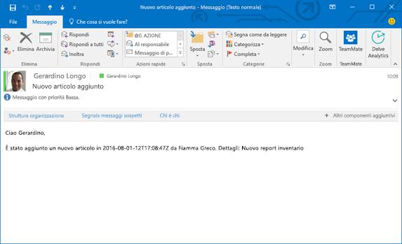Messaggio di posta elettronica ricevuto in base al flusso che invia un messaggio di posta elettronica quando si aggiunge un nuovo elemento a un elenco.
