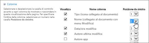Riordinare le colonne della raccolta nella finestra di dialogo Modifica visualizzazione