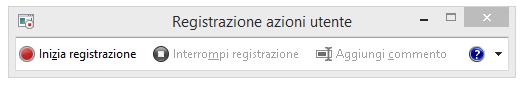 Schermata di Registrazione azioni utente o PSR.exe.