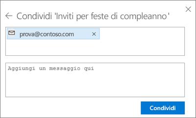 Screenshot dell'invito da inviare alle persone dopo aver selezionato Posta elettronica nella finestra di dialogo Condividi