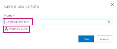 Scegliere la cartella Condivisi con tutti in OneDrive