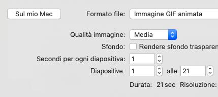 Mostra intervallo diapositive per l'esportazione