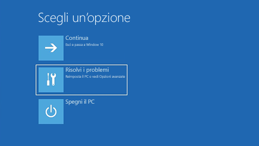Schermata Scegli un'opzione in Ambiente ripristino Windows.